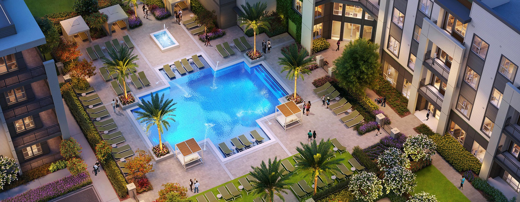 Saltwater Pool With Ample Seating At Legacy Universal Apartments In Orlando, FL