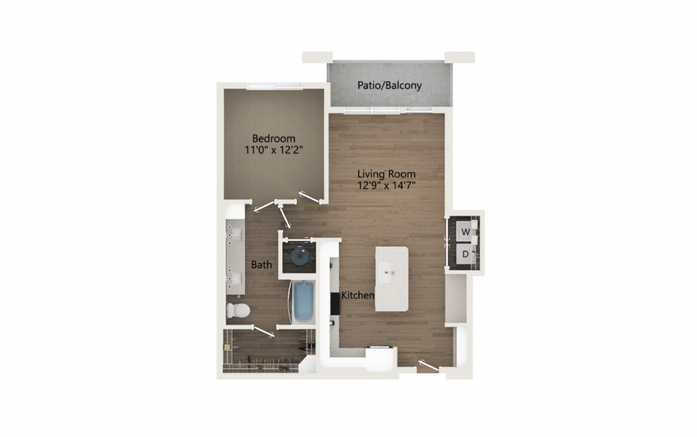 Bliss 1 Bedroom And 1 Bathroom 2D Floor Plan At Legacy Universal Apartments In Orlando, FL