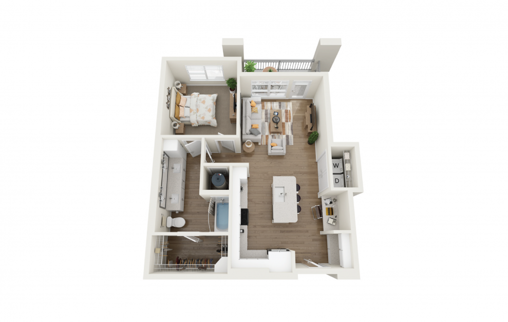 Bliss 1 Bedroom And 1 Bathroom 3D Floor Plan At Legacy Universal Apartments In Orlando, FL