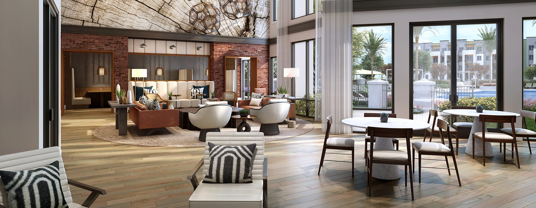 Modern Common Space With Ample Seating At Legacy Universal Apartments In Orlando, FL