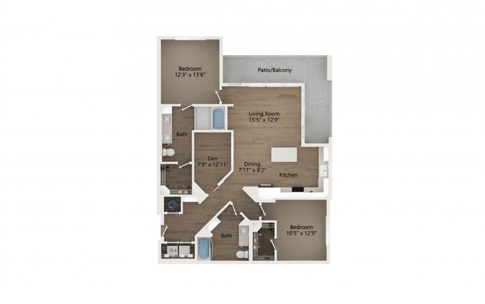 Escape 2 Bedroom And 2 Bathroom 2D Floor Plan At Legacy Universal Apartments In Orlando, FL