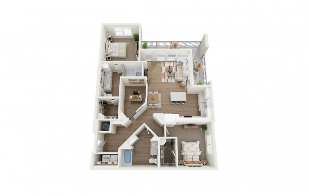 Escape 2 Bedroom And 2 Bathroom 3D Floor Plan At Legacy Universal Apartments In Orlando, FL