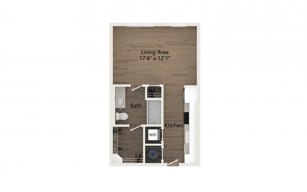 Essence Studio And 1 Bathroom 2D Floor Plan At Legacy Universal Apartments In Orlando, FL