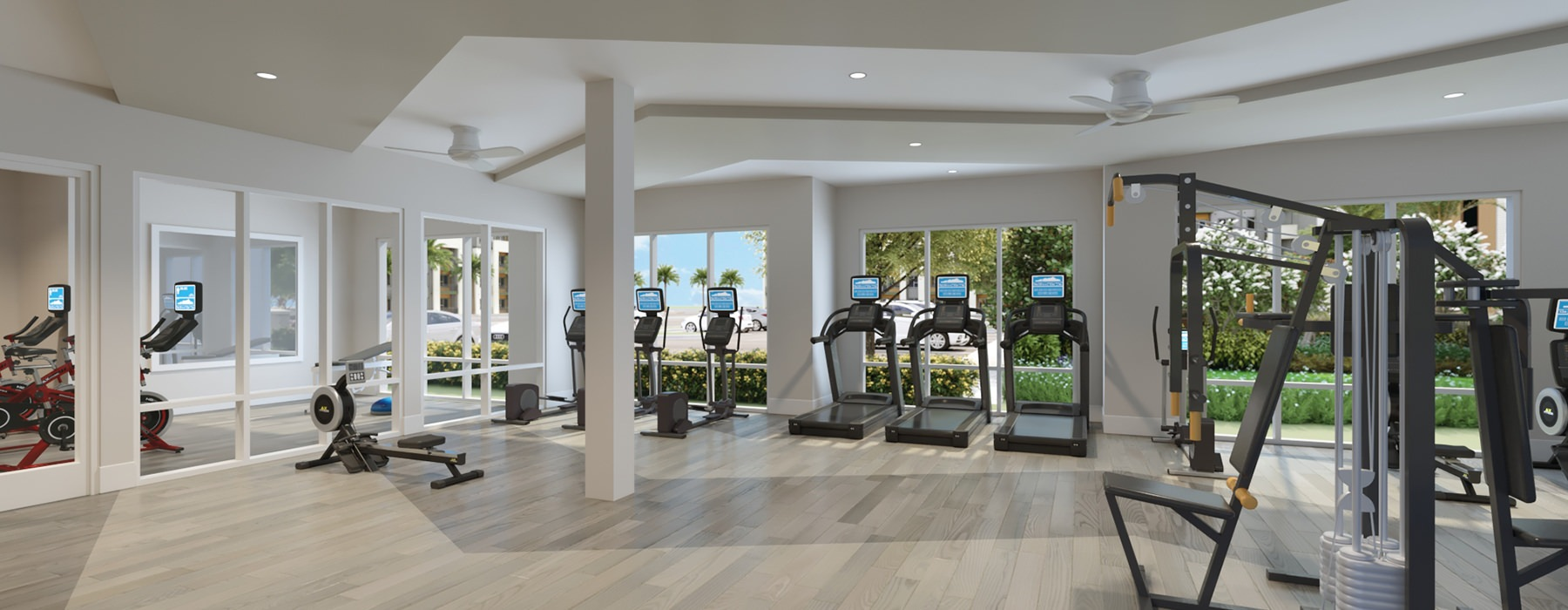 Treadmills And Ample Fitness Center Equipment At Legacy Universal Apartments In Orlando, FL