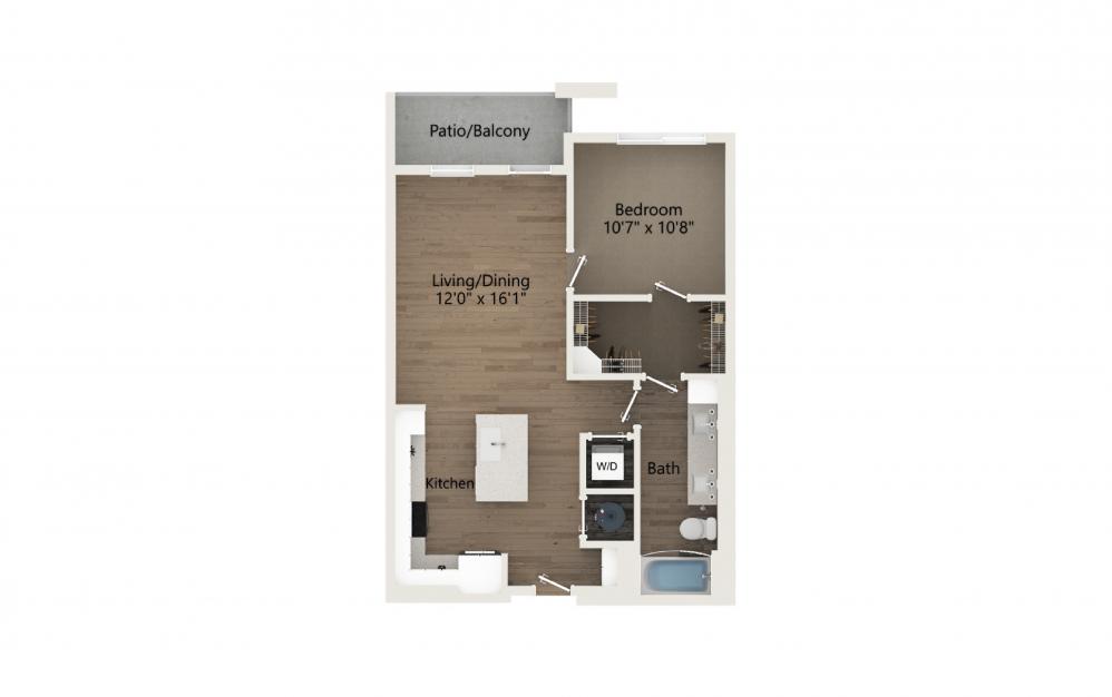 Harmony 1 Bedroom And 1 Bathroom 2D Floor Plan At Legacy Universal Apartments In Orlando, FL