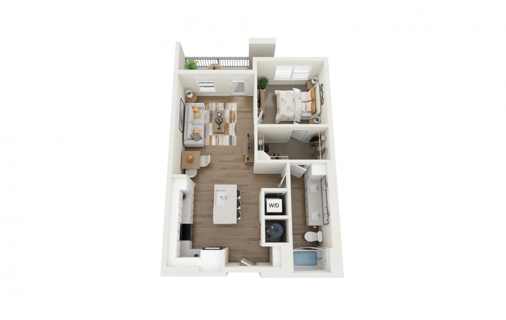 Harmony 1 Bedroom And 1 Bathroom 3D Floor Plan At Legacy Universal Apartments In Orlando, FL