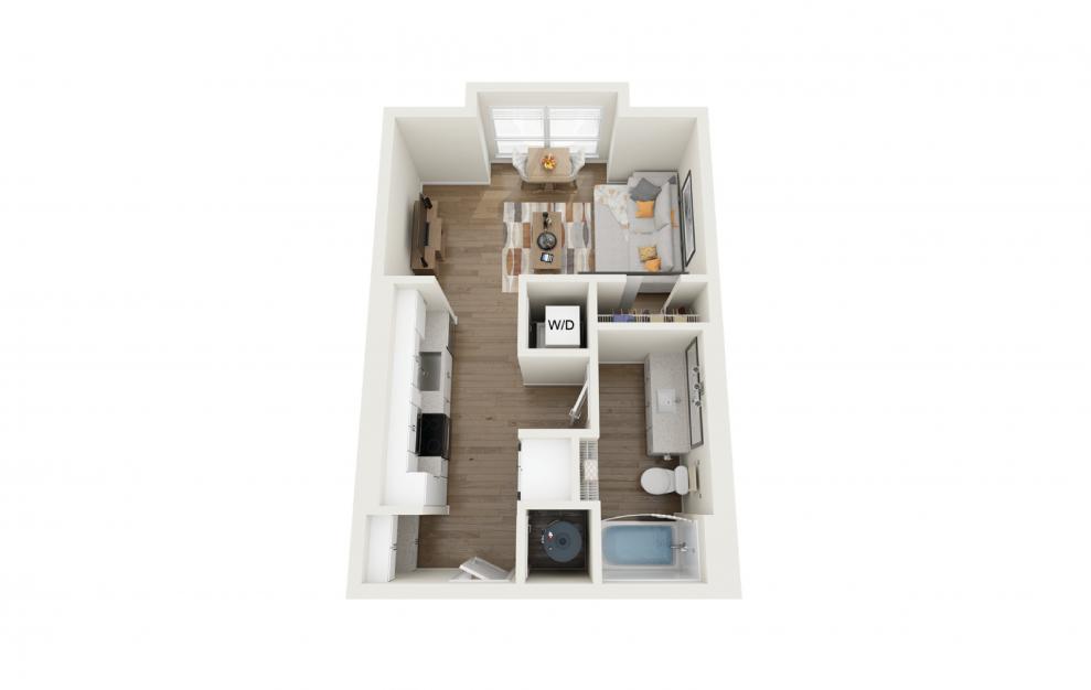 Horizon Studio And 1 Bathroom 3D Floor Plan At Legacy Universal Apartments In Orlando, FL