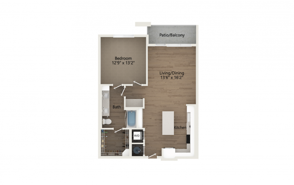 Serenity 1 Bedroom And 1 Bathroom 2D Floor Plan At Legacy Universal Apartments In Orlando, FL