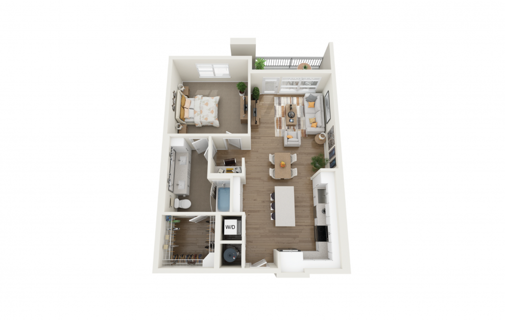 Serenity 1 Bedroom And 1 Bathroom 3D Floor Plan At Legacy Universal Apartments In Orlando, FL