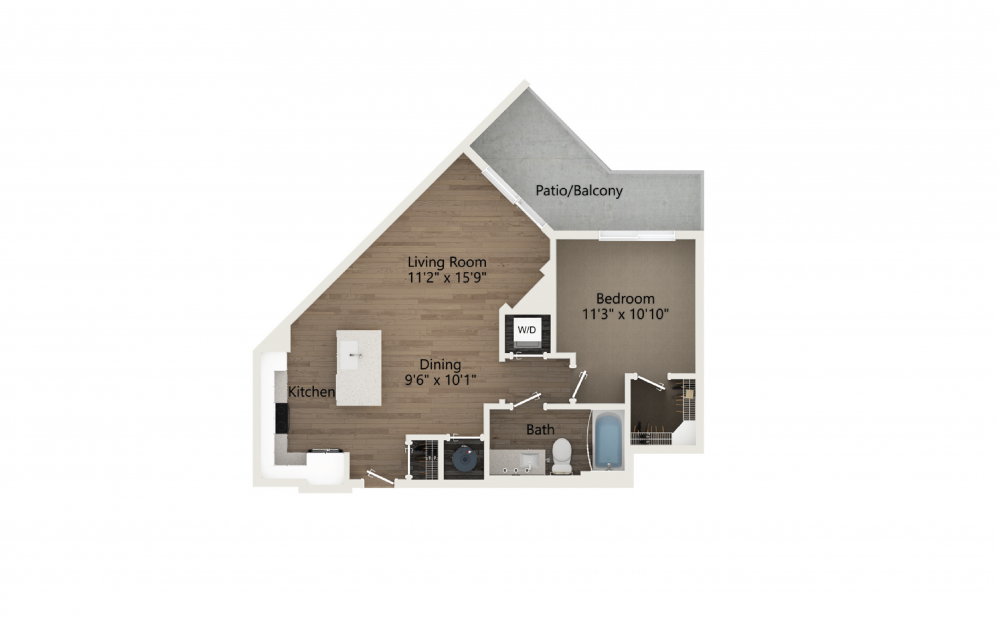 Tranquil 1 Bedroom And 1 Bathroom 2D Floor Plan At Legacy Universal Apartments In Orlando, FL