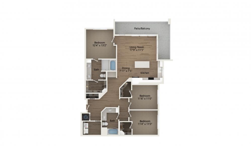 Unwind 3 Bedroom And 2 Bathroom 2D Floor Plan At Legacy Universal Apartments In Orlando, FL