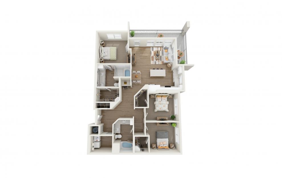 Unwind 3 Bedroom And 2 Bathroom 3D Floor Plan At Legacy Universal Apartments In Orlando, FL